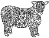Black & White Detailed Sheep Coloring Sheet: 2015 Chinese