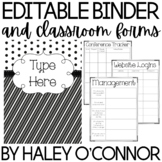 Black and White Editable Teacher Binder