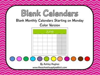 Blank Calendars with Monday Start