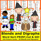 Blends & Digraphs Word Sort-104 Picture Cards-26 Blends an