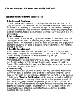 Book Bag Reading Instructions for Parents
