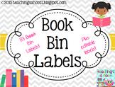 Book Bin Labels - Gray & White Chevron