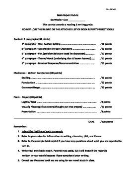 book report assessment criteria Book reports lesson plan: self printed class set of student-generated book report criteria for scoring and assessment compose a list of book report criteria.