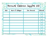 Borrowed Classroom Supplies Checklist