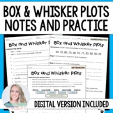 Box and Whisker Plots Notes and Practice