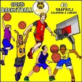 Basketball. 7pose,  1 ball ( line art,and 2 colour versions)