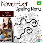 Spelling Homework Menu - November