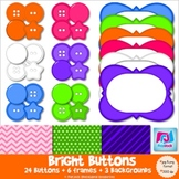 Bright Buttons, Frames, & Background Paper Clip Art - Comm