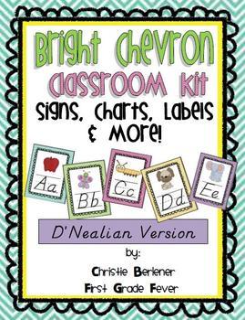 Bright Chevron Classroom Kit - {D'Nealian}