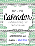 Bright Color Chevron 2014-2015 Calendar {Month Across 2 Pages}