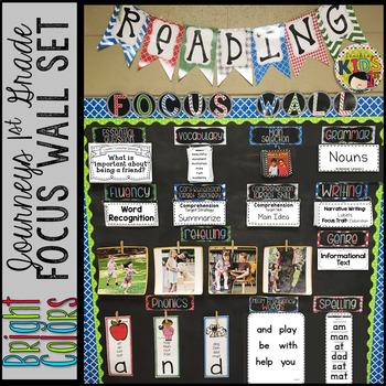 Journeys 1st Grade Focus Wall Set -Banners, Editable Labels & Flip Charts