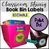 Bright Polka Dot Book Bin Library Labels {EDITABLE}