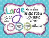 Bright Polka Dot Table Signs (1-10)