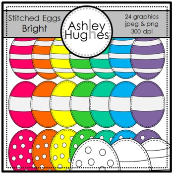 Bright Stitched Eggs {Graphics for Commercial Use}