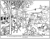 Bruegel. Hunters in the Snow.  Coloring page and lesson pl