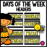 Bulletin Board Days of the Week Set/YELLOW,BLACK, AND WHITE THEME
