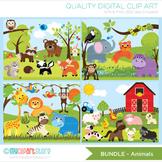 Bundle Pack -  Farm / Jungle / Safari Animals Clipart