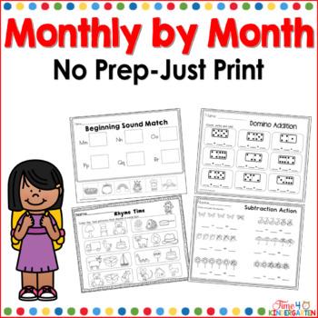 NO PREP packs for kindergarten