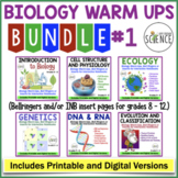 No Prep Biology Interactive Notebooks or Warm Ups Bundled