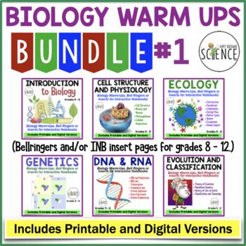 No Prep Biology Interactive Notebooks or Warm Ups Bundled Set Part 1