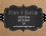 Burlap & Black Classroom Decorative Set