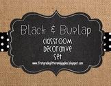 Burlap & Black Classroom Decorative Set