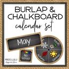 Burlap & Chalkboard Classroom Calendar Set