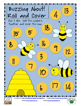 Buzzing About! Adding 3 Numbers Roll and Cover {Free}