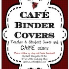 CAFE Chalkboard Binder Cover and Signs (Teacher and Student)