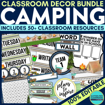 CAMPING Classroom Theme EDITABLE Decor 34 Printable Product Bundle