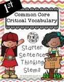 CHEVRON VERSION Critical Vocabulary Thinking Stems Grades 1-8