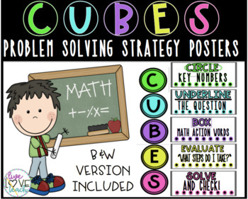 C.U.B.E.S. Problem Solving Math Strategy Posters w/ printable