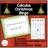 Calculus AB AP - Christmas Bingo - Review for Semester Exam