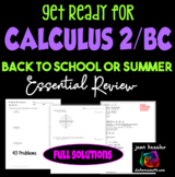 Calculus Summer Study Guide for  Calculus BC or Calculus 2