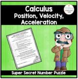 Calculus Super Secret Number Puzzle Position, Velocity, an