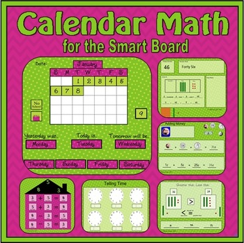 Calendar Math for SmartBoard (daily review of 16 common core skills)
