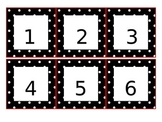 Calendar Pieces - Black and white Polka-Dots with Red Trim