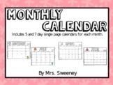 Calendar by Miss Sharp