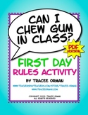 """Can I Chew Gum in Class?"" PDF Beginning of the Year Class"