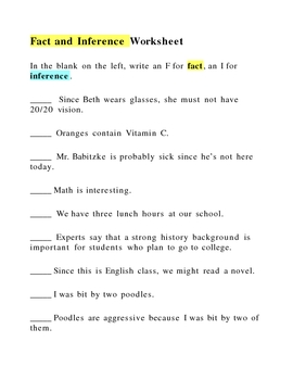 Canadian History Fact Versus Inference worksheet