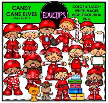 Candy Cane Elves Clip Art Bundle