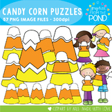 Candy Corn Puzzles + Kids Clipart