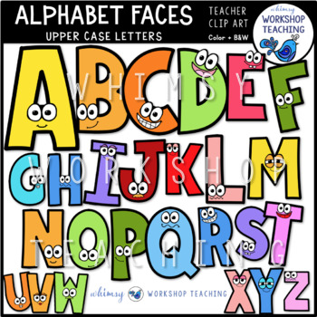 Capital Letters With Faces Clip Art - Whimsy Workshop Teaching