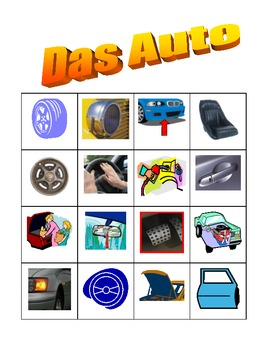 Car parts in German Bingo game
