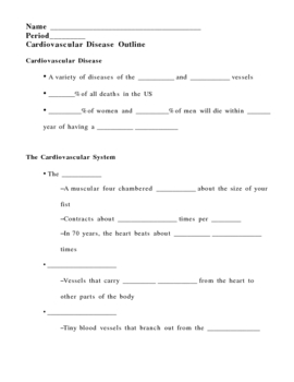 Cardiovascular (Heart) Disease Notes Outline Lesson Plan