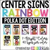Center Signs for Kindergarten Polka Dots with Editable Stu