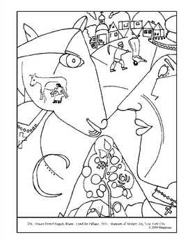 Chagall, Marc. I and the Village.  Coloring page and lesso