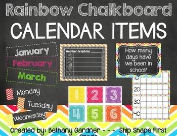 Chalk it Up! Rainbow Chalkboard Calendar Materials