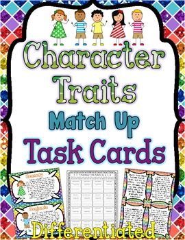 Character Traits Task Cards { Match Up Activity to Infer Character Traits }