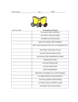 Chart: Characteristics of Good Readers